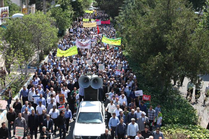 طنین فریاد مرگ بر اسرائیل در پارس آباد+تصاویر